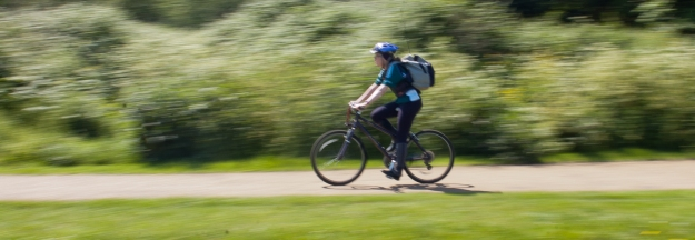 speeding cylist in the lea valley park